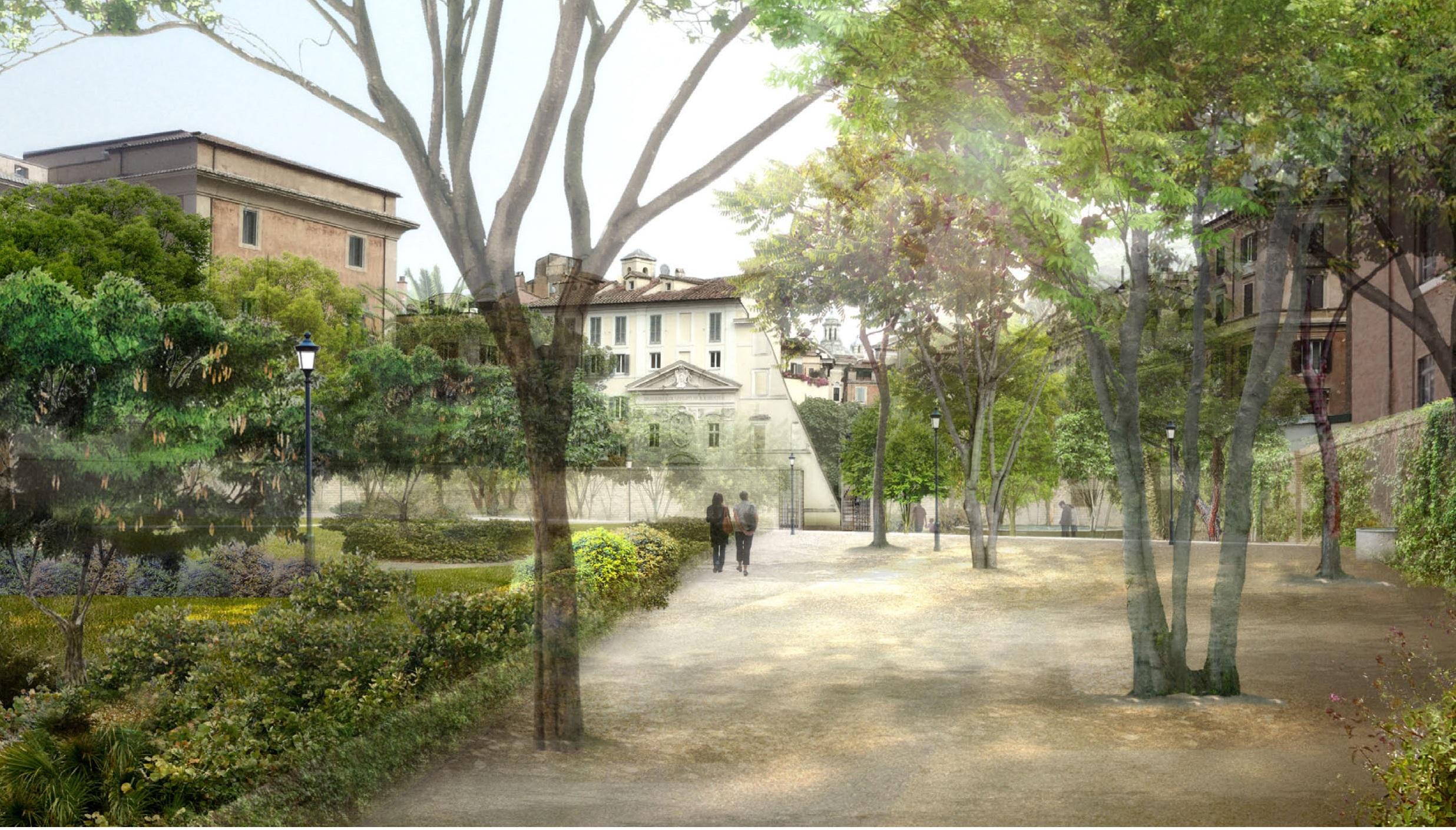 Presentazione del progetto per un giardino pubblico a via for Rendering giardino